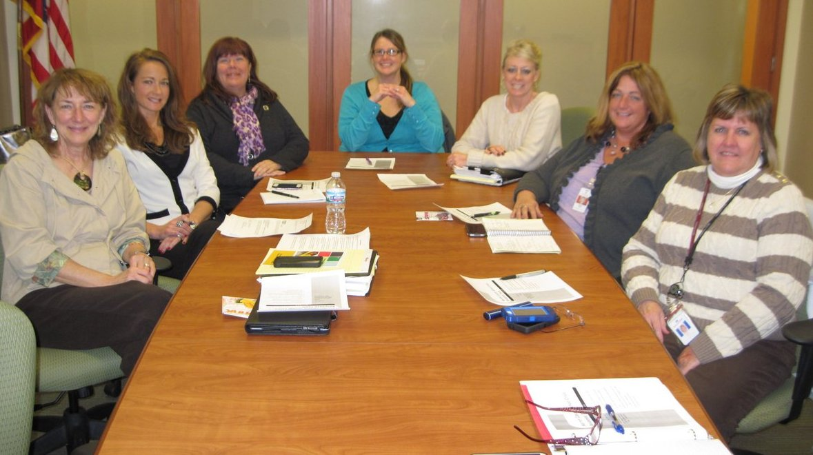eft to right: Barb Wright (Lebanon City Schools), Kim Sellers (Warren County ESC), Vycki Haught (Mason City Schools), Syndra Snelling (Lebanon City Schools), Shelley Brown (Warren County ESC), Tiffany Rush (Solutions Community Counseling and Recovery Centers), and Jane Groh (Solutions Community Counseling and Recovery Centers).